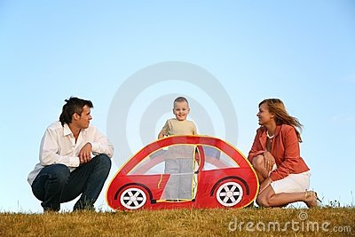 Family and the toy tent