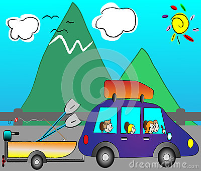 Family traveling on holiday by funny car