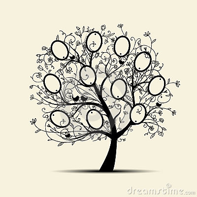 Free Family Tree Design, Insert Your Photos Into Frames Stock Images - 22098204