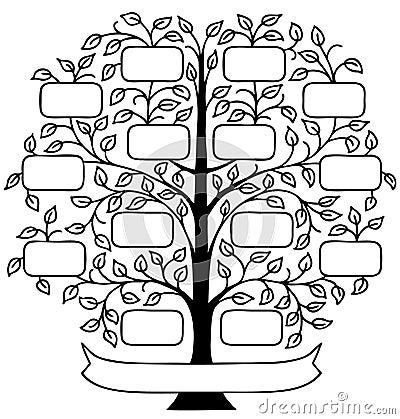 Handpainted Family Tree Stock Illustration - Image: 45538183