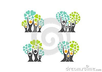 family tree logo,family heart tree symbols,parent,kid,parenting,care,health education set icon design vector Vector Illustration
