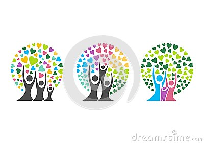 family tree logo,family,parent,kid,heart,parenting,care,circle,health,education,symbol icon design vector Vector Illustration