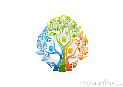 Family tree logo, healthy people concept design Vector Illustration
