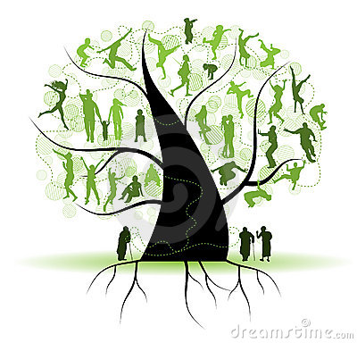 Free Family Tree, Relatives, People Silhouettes Royalty Free Stock Images - 14140989