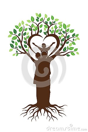 Family Tree And Roots Logo Vector Illustration
