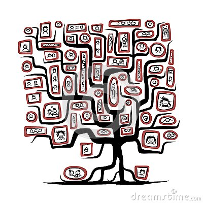Family tree sketch with people portraits for your