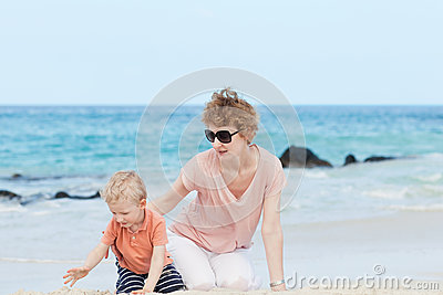 Family of two at the beach