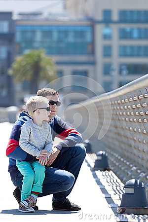 Family of two in the city