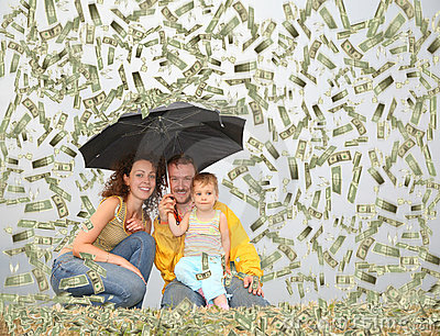 Family with umbrella under dollar rain collage