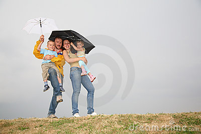 Family with the umbrellas