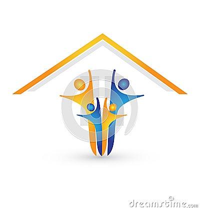 Family under roof logo