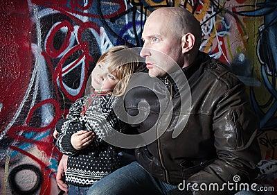 Family urban father son city