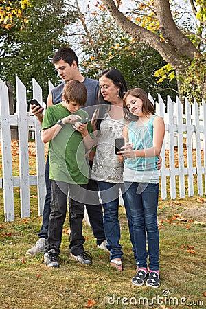 Family using Cellphones