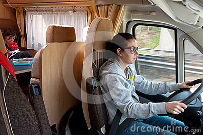 Family vacation trip in motorhome