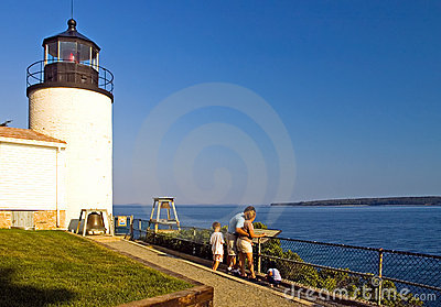 Family visiting lighthouse