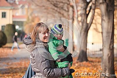 Family walk autumn