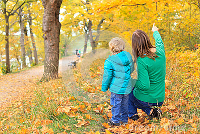 Family walk in autumn