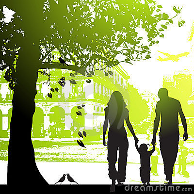 Free Family Walk In The City Park Stock Images - 5829994