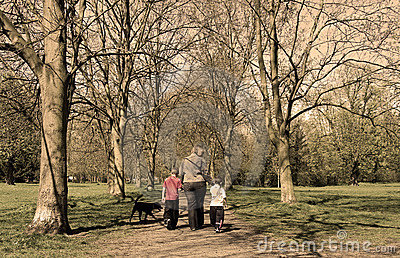 Family walk in the park (sepia)