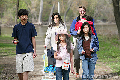 Family walking along country path