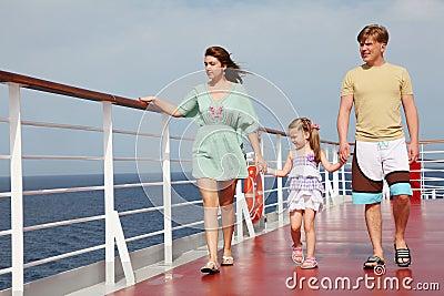 Family walking on cruise liner deck, full body