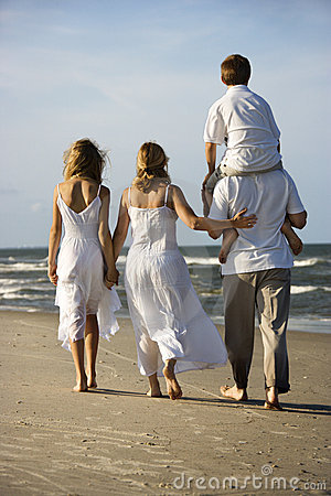Free Family Walking Down Beach. Stock Photo - 2038130