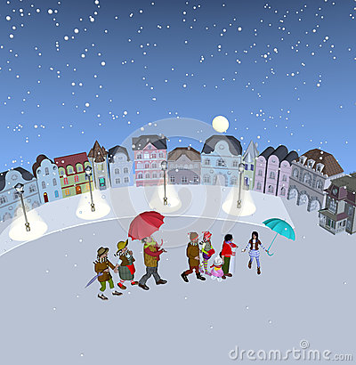Free Family Walking In Snow, Holding Umbrellas Royalty Free Stock Photo - 57145985