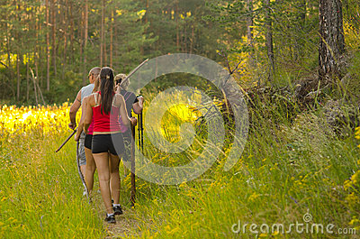 Family walking in the nature