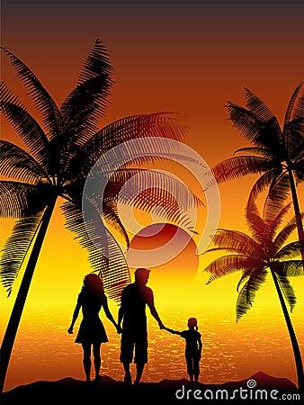 Free Family Walking On Beach Stock Image - 9852451