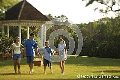 Family walking through park.