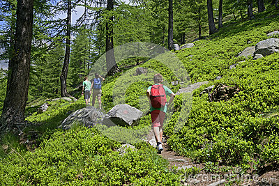 Family walking in a path in mountain