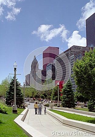 Family walks in Millennium Park Chicago Illinois U