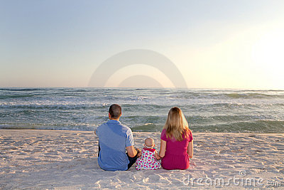 Family Watching Ocean Waves