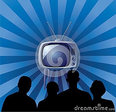 Family watching retro tv set
