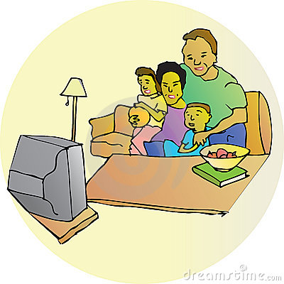 Family Watching Television Stock Photo - Image: 6006480