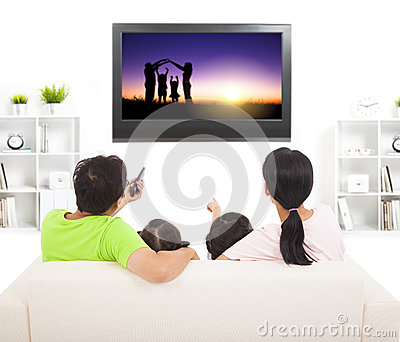 Family watching the tv