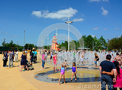 Family water fountain fun Editorial Photography