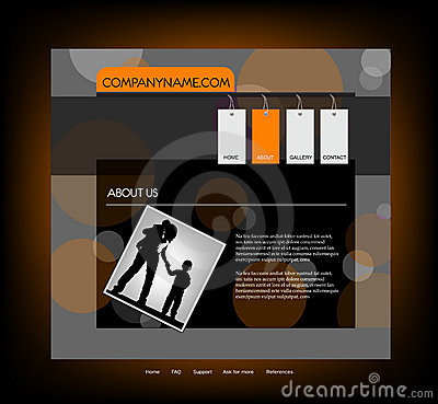 Family website template, vector