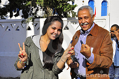 Family who voted, Tunisia Editorial Photo