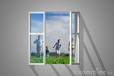 Family in window