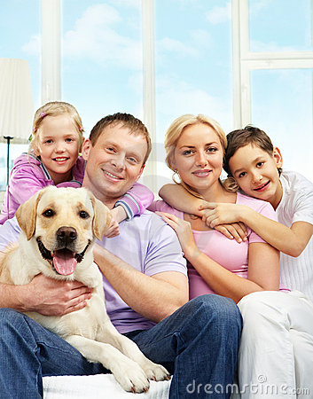 Free Family With Dog Stock Photo - 18591600