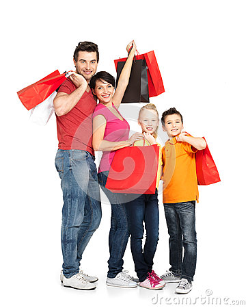 Free Family With Shopping Bags Standing At Studio Stock Photo - 29258450