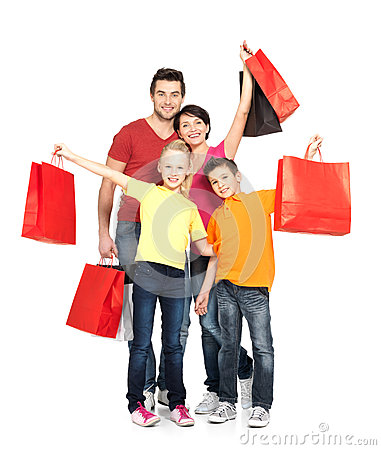 Free Family With Shopping Bags Standing At Studio Royalty Free Stock Photo - 29258455