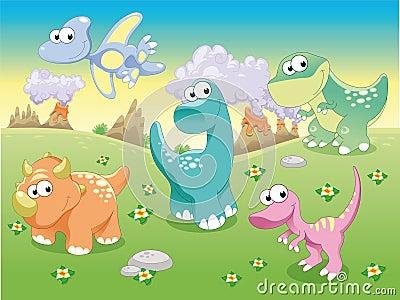 Família dos dinossauros com fundo.