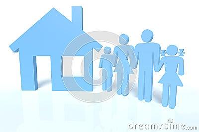 Família e uma casa