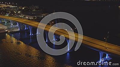 Famoso neon bridge Miami Downtown video antenna antenna video 4k 60p video d archivio
