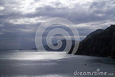 Famous Amalfi Coast before a storm