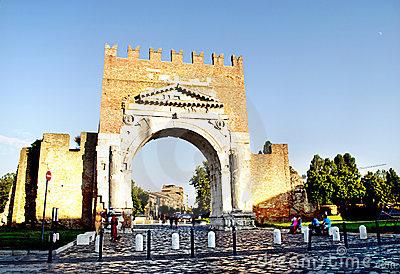The Famous Arch of Augustus in Rimini, Italy