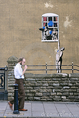 Famous Banksy Graffiti Piece in Bristol Editorial Photography