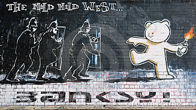Famous Banksy Piece Titled Mild Mild West Editorial Stock Image